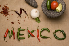 Ingredients of mexican cuisine. Molcajete, onion, tomato and chiles ingredients of mexican cuisine royalty free stock images