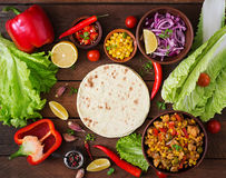 Ingredients for Mexican tacos with meat Royalty Free Stock Photography