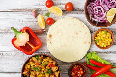 Ingredients for Mexican tacos with meat Royalty Free Stock Photo