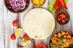 Ingredients for Mexican tacos with meat Royalty Free Stock Images