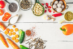 Ingredients  for Middle East , Caucasian and Asian cuisine on the white table Royalty Free Stock Image