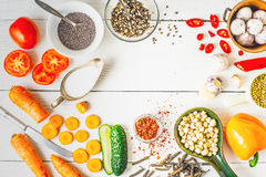 Ingredients  for Middle East , Caucasian and Asian cuisine on the white table horizontal Stock Images