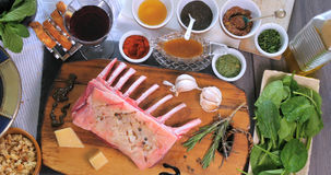 Ingredients for minted rack of lamb Stock Image