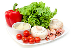 Ingredients for mix salad. Isolated on a white background Stock Images