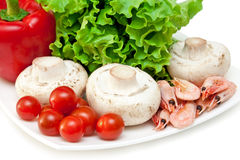 Ingredients for mix salad. Isolated on a white background Royalty Free Stock Images