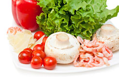 Ingredients for mix salad. Isolated on a white background Stock Photo
