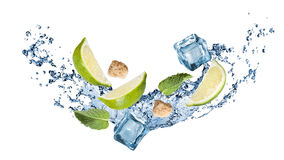 Ingredients of mohito cocktail with water splash Stock Images