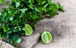 Ingredients for mojito. Fresh mint, limes, sugar over wooden ba. Ingredients for mojito - Fresh mint, limes, sugar over wooden background royalty free stock photo
