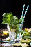 Ingredients for mojito in glass Stock Image