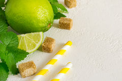 Ingredients for Mojito. Juicy lime, mint and brown sugar, copy s Stock Photo