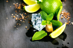 Ingredients of Mojito. Lime, mint, ice cubes and brown sugar Royalty Free Stock Photo
