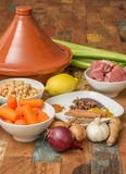 Ingredients for a Moroccan dish with lamb and vegetables Stock Photo