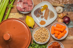 Ingredients for a Moroccan dish with lamb and vegetables Royalty Free Stock Photos