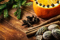 Ingredients for mulled wine. Collection of spices for mulled wine on wooden table Stock Photo