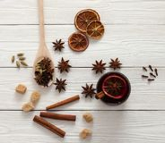 Spices for mulled wine Royalty Free Stock Images