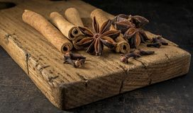 Ingredients for mulled wine on a wooden board royalty free stock images