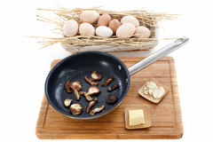 Ingredients for mushroom omelette Royalty Free Stock Photography