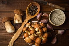Ingredients for mushroom soup on wooden rustic background, top view. Autumn healthy eating and cooking concept Royalty Free Stock Image
