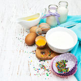 Ingredients needed for baking cupcakes Stock Photography