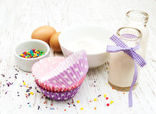 Ingredients needed for baking cupcakes Royalty Free Stock Photos