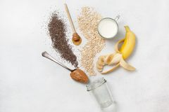 Ingredients for overnight oatmeal Royalty Free Stock Photos
