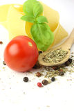 Ingredients. Noodles with tomatoe, basil and herbs Stock Photos