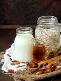 Ingredients for oatmeal or cookies  - cereal, honey, raisins, milk, almonds. Royalty Free Stock Photography