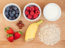 Ingredients for oatmeal with fresh fruit Stock Photos