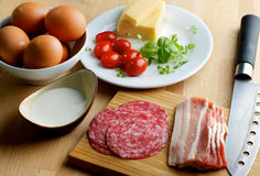 Ingredients of Omelet Stock Photos