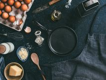Ingredients for omelette, low key, copy space stock photography