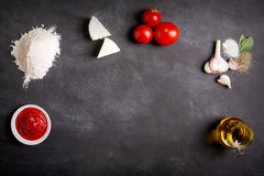 Free Ingredients On The Black Chalkboard. Top View Stock Photos - 73583253