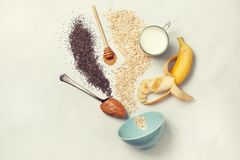 Ingredients for overnight oatmeal Royalty Free Stock Images