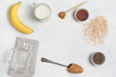 Ingredients for overnight oatmeal Royalty Free Stock Photography