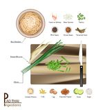 16 Ingredients Pad Thai or Stir Fried Noodles. Thai Cuisine, 16 Ingredients Pad Thai or Traditional Thai Stir Fried Noodles. One of The Most Popular Dish in Stock Photography