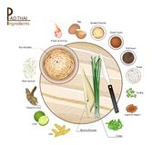 16 Ingredients Pad Thai or Thai Stir Fried Noodles. Thai Cuisine, 16 Ingredients Pad Thai or Thai Traditional Stir Fried Noodles. One of The Most Popular Dish in Stock Image