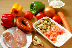 Ingredients for paella royalty free stock photo