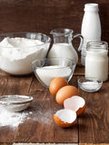 Ingredients for the pancake. On the wooden table stock photo