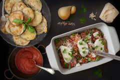 Ingredients For Parmigiana In Baking Pan Royalty Free Stock Images