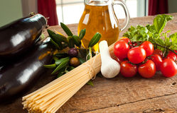 Ingredients of Pasta alla Norma Stock Photo