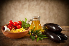Ingredients of Pasta alla Norma Stock Images