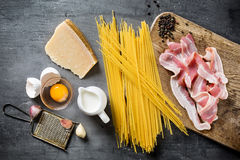Ingredients for Pasta Carbonara Stock Photography