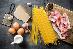 Ingredients for Pasta Carbonara. On dark background Stock Photo