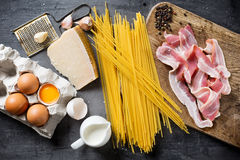 Ingredients for Pasta Carbonara Stock Photo