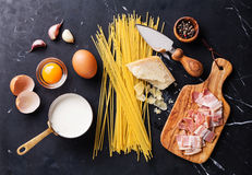 Ingredients for Pasta Carbonara Royalty Free Stock Photography