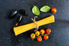 Ingredients for pasta with mussels, background Stock Images