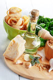 Ingredients for pasta pesto Stock Photography