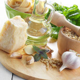 Ingredients for pasta pesto Stock Image