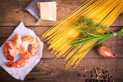 Ingredients for pasta with scampi Stock Photography