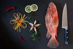 Ingredients Pasta Scorpionfish Stock Image