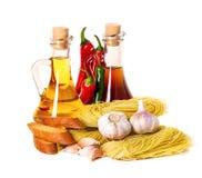 Ingredients for pasta. Spaghetti, chili, oil, garlic Stock Photo